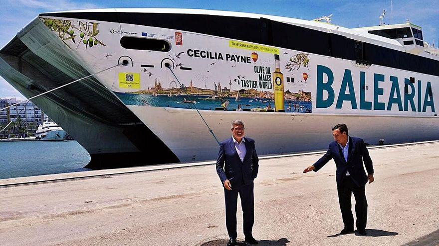 La naviera de Dénia Baleària, mascarón de proa del aceite de oliva de España