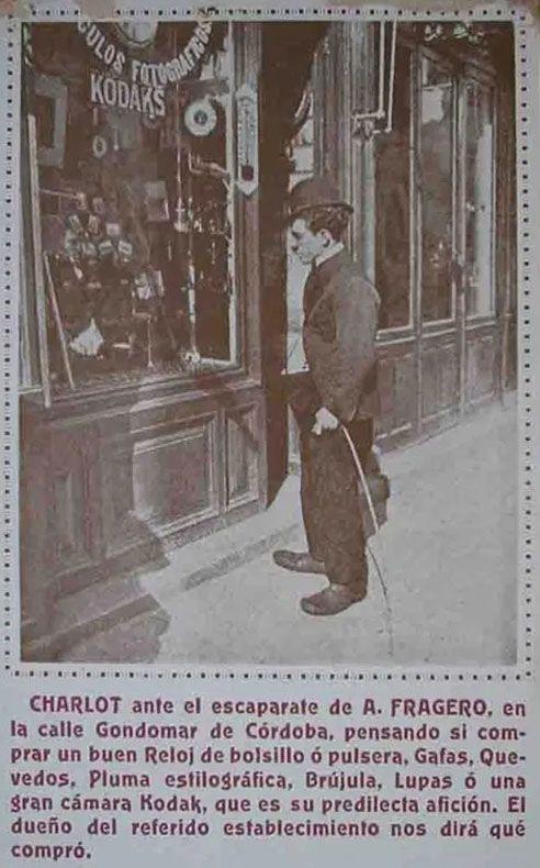 1920 Ca Publicidad de la casa Fragero de Córdoba con un doble de Charlot