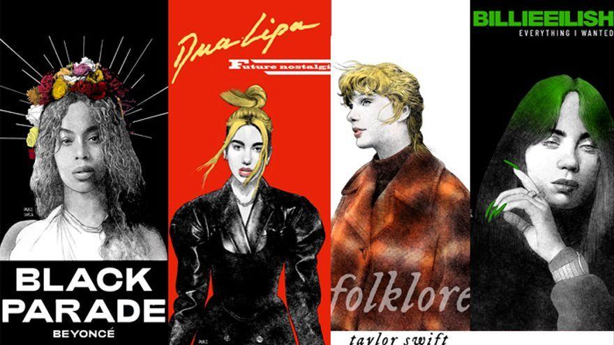 Cuatro reinas par los Grammy 2021: Dua Lipa, Beyoncé, Taylor Swift y Billie Eilish. Imagen: Pablo García.