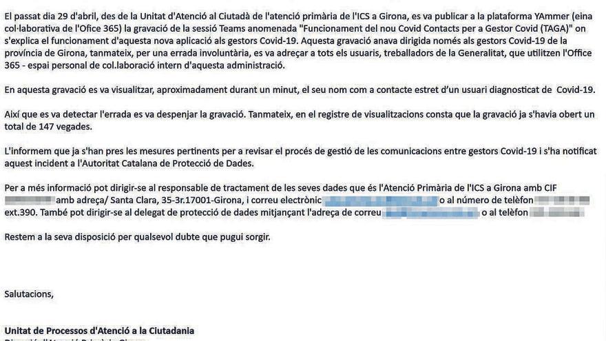 Una errada deixa visibles noms de contactes estrets de COVID-19 a Girona