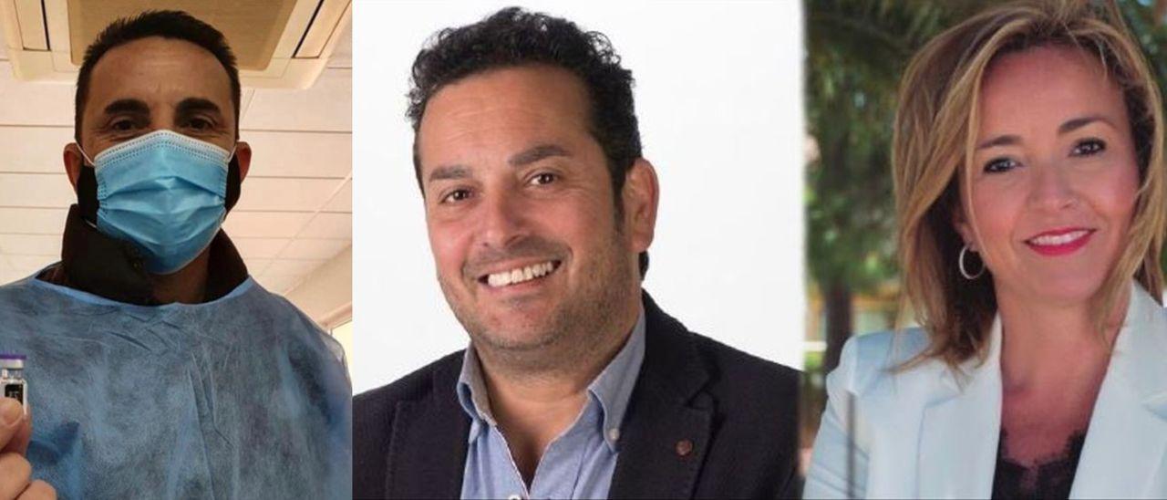 Los alcaldes Bernabé Cano (PP), Ximo Coll (PSPV) y Carolina Vives (PSPV).