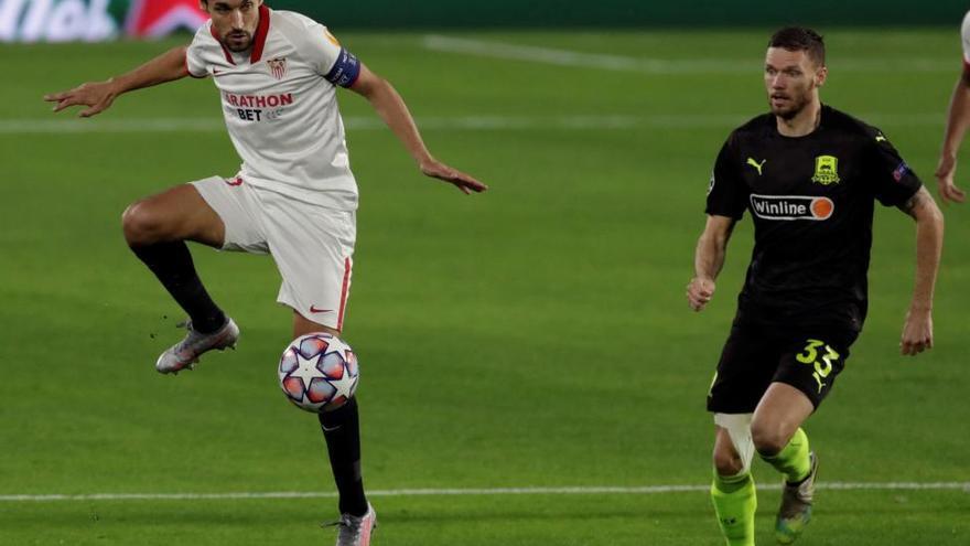 El Sevilla remonta con un jugador menos al Krasnodar