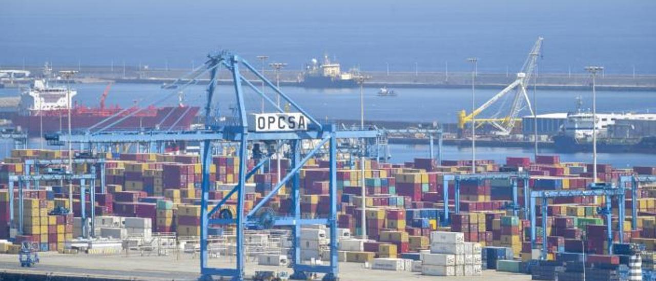 Terminal de contenedores Opcsa, en el Puerto de Las Palmas.    
