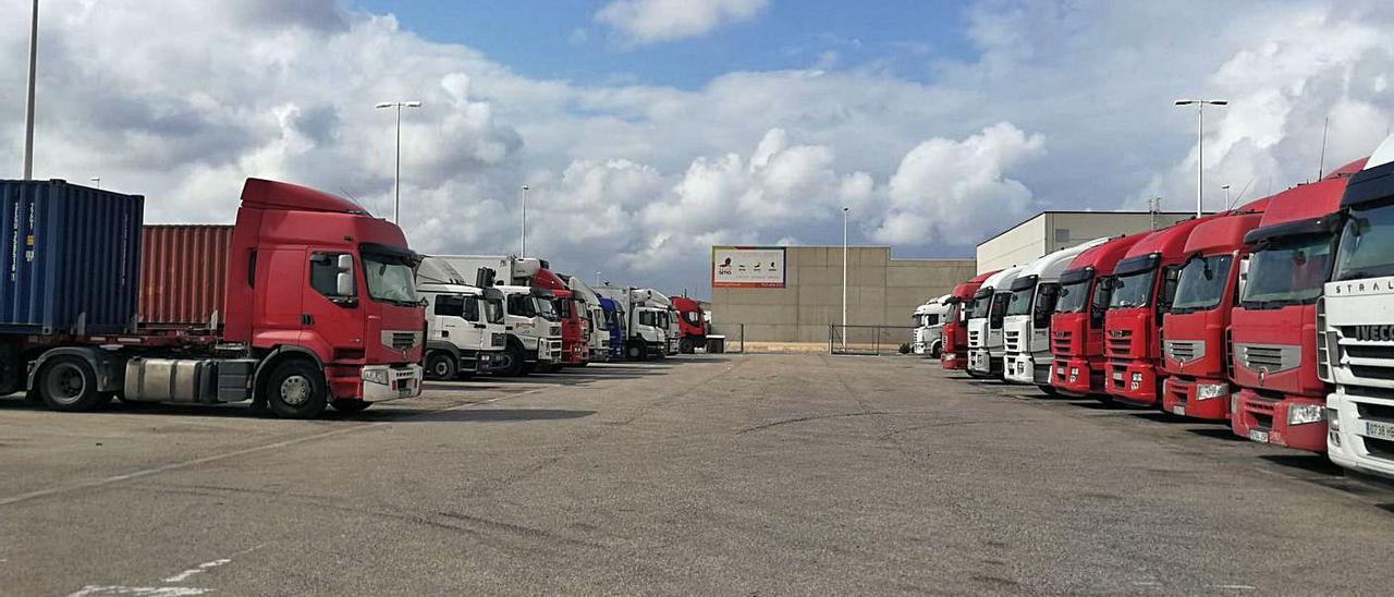 Camiones de grandes dimensiones están estacionados en el parking de La Mina de Paiporta. | L-EMV