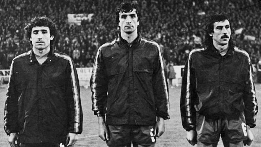 Uría, Alexanco y Mesa, en un encuentro con la selección previo a la Eurocopa