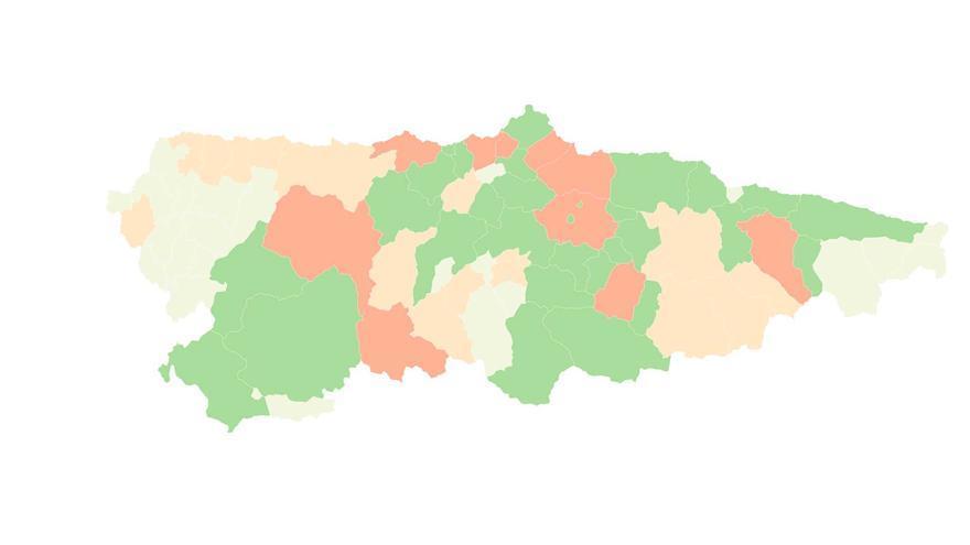 El contagio de covid por concejos en la última semana: todos mejoran, menos media docena de municipios