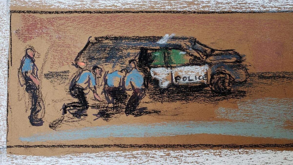 Un dibujo sobre el momento de la muerte de George Floyd.