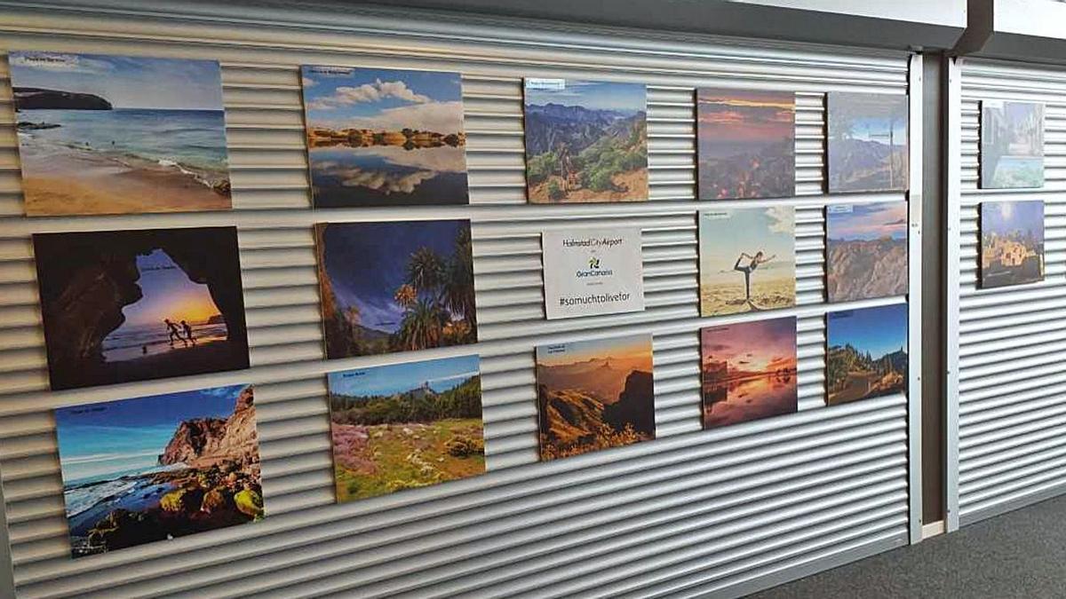 Imágenes de Gran Canaria en la sala de embarque del aeropuerto sueco de Halmstad.  | | LP/DLP