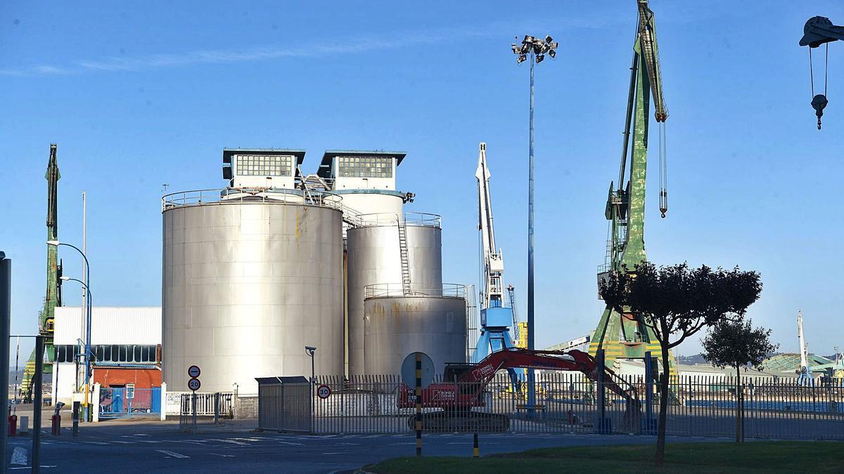 Vista parcial del muelle de Calvo Sotelo, donde se trabaja en el derribo de silos.     // CARLOS PARDELLAS
