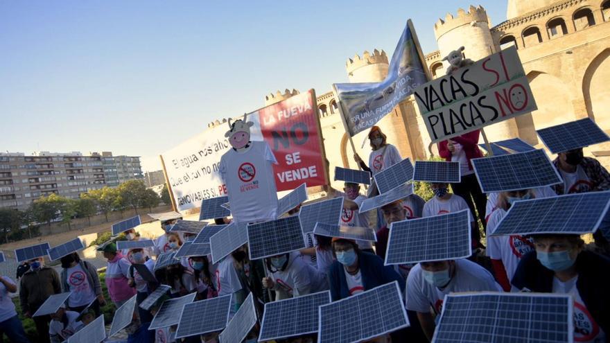Los vecinos de La Fueva protestan en la Aljafería contra la macroplanta solar de camino a Madrid