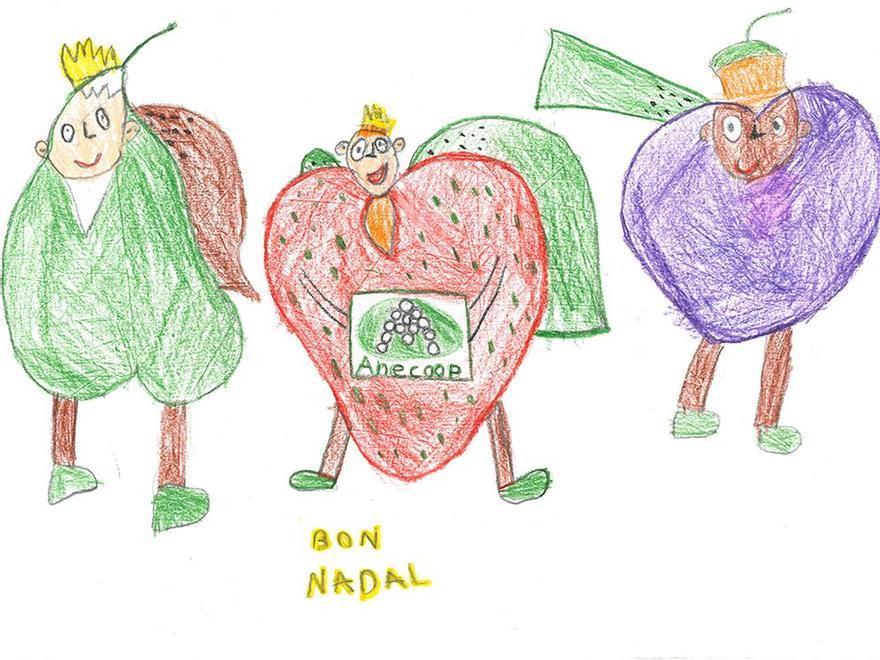 Tercer premio en categoría Infantil del Concurso de Postales Anecoop, obra de Inés Benavent Aranda.