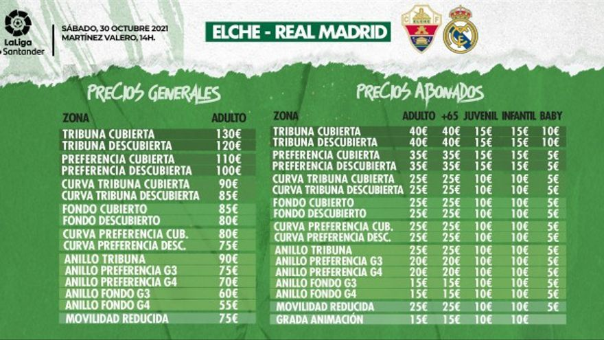 Las entradas del Madrid costarán entre 40 y 130 euros y entre 15 y 55 para los abonados
