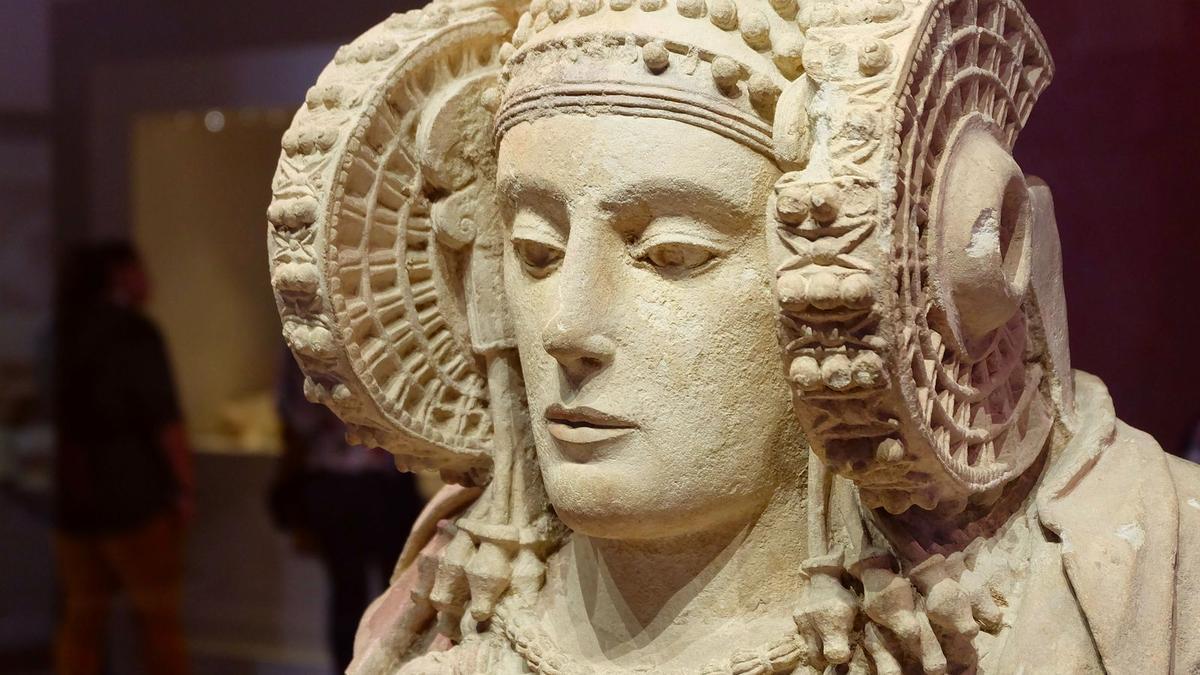 La Dama de Elche en el Museo Arqueológico de Madrid.