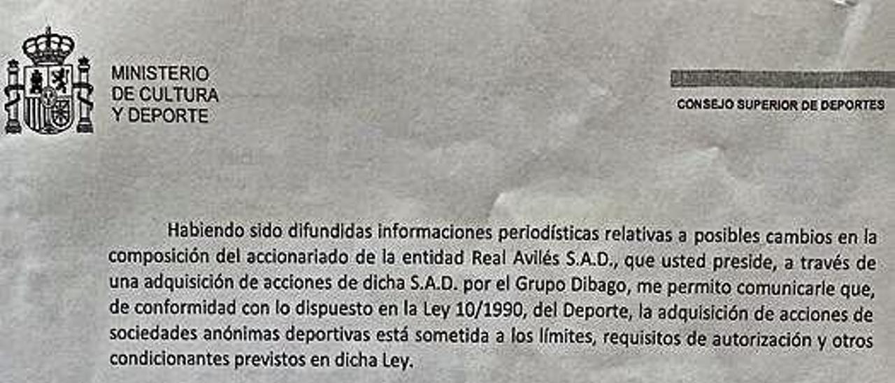 La carta del CSD.