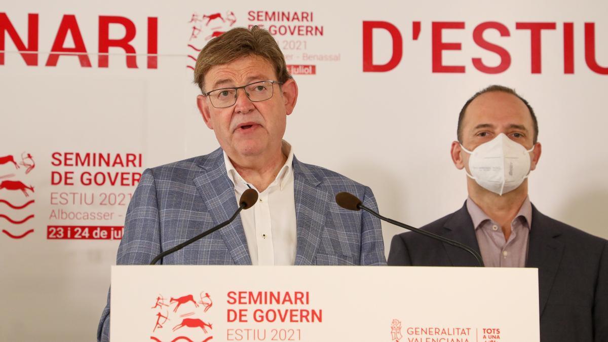 Puig, durante la rueda de prensa en Benassal.