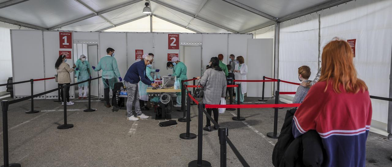 Carpa para tomar muestras covid en el hospital del Vinalopó- Doctor Mas Magro