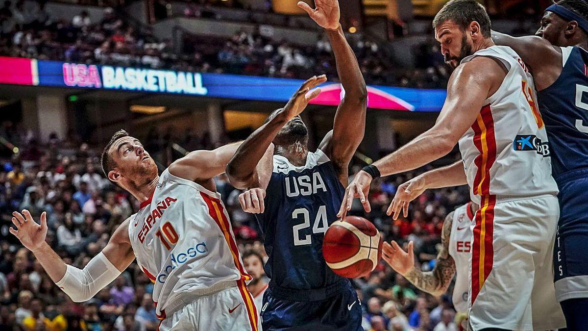 Imagen del USA-España previo al Mundial de 2019, partido que se jugó en Las Vegas.  | EUROPA PRESS/ALBERTO NEVADO