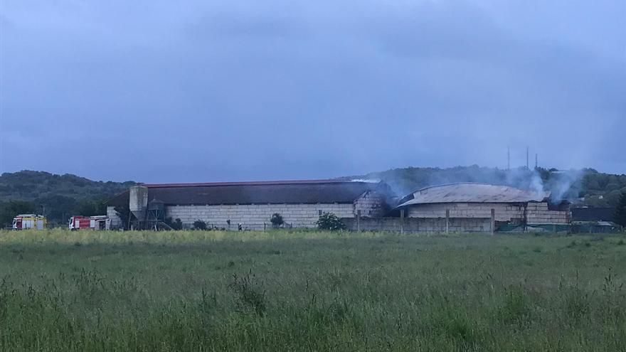 Un incendio originado en un tractor calcina una nave en Xinzo de Limia