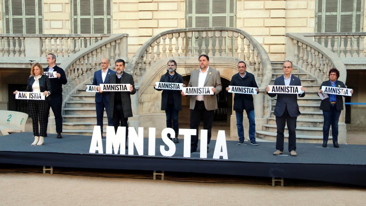 Els 9 presos polítics independentistes al Palau Robert l'1 de febrer de 2020