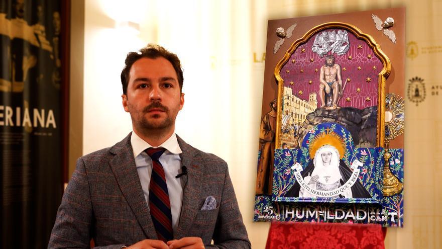 El pintor Rafael Laureano presenta el cartel del XXV aniversario de la hermandad de la Humildad y Paciencia