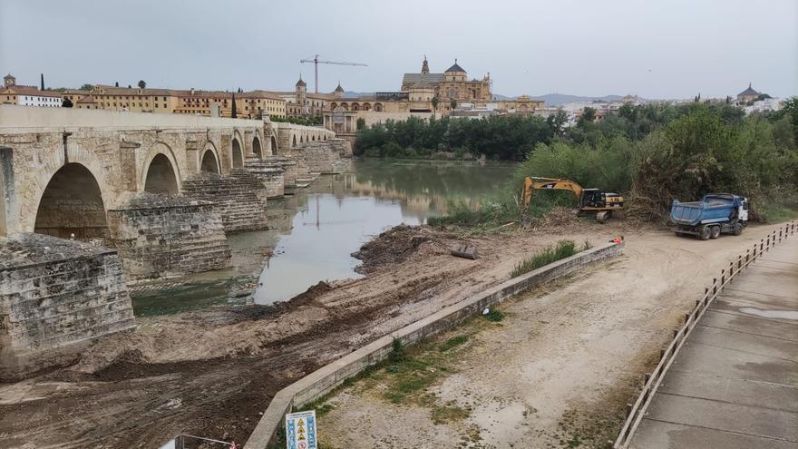 La Junta de Andalucía retira lodos y limpia 'la playa' del río Guadalquivir