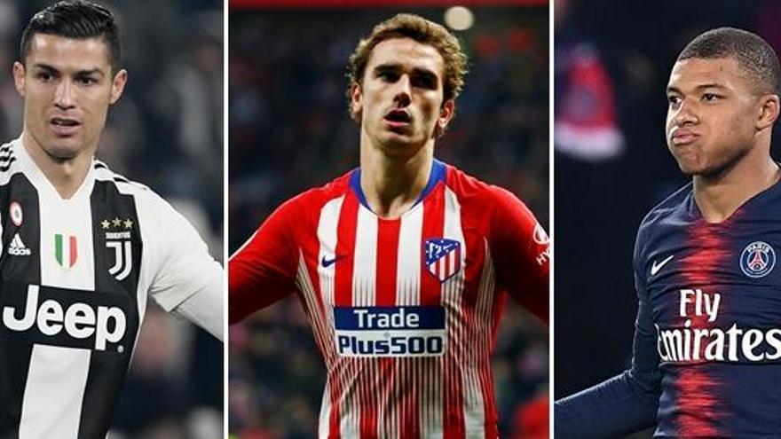 Cristiano, Griezmann y Mbappe, candidatos a Mejor Jugador en los Globe Soccer