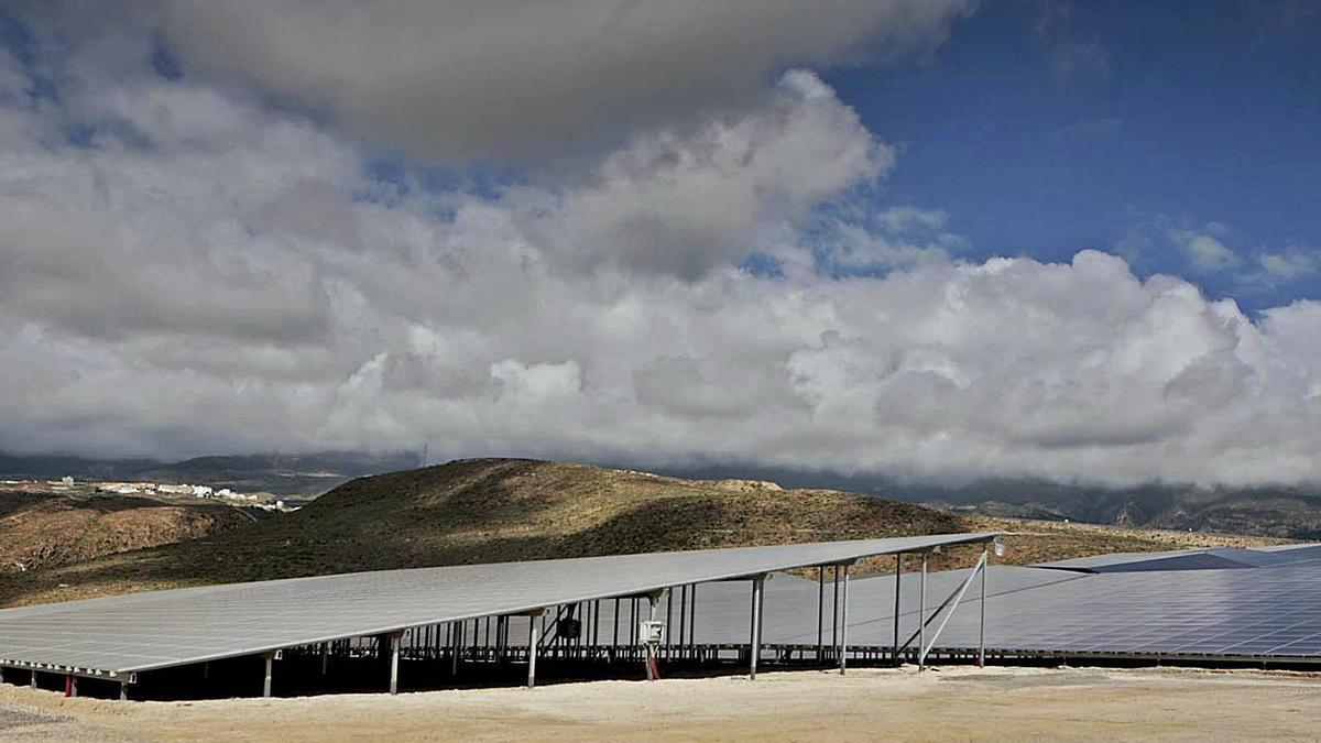 Paneles solares para la energía fotovoltaica instalados en el municipio de Arico, en el Sur de la Isla.