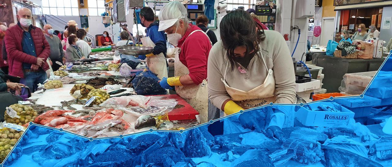 Imagen de fondo: puesto de pescado y marisco en el mercado del Calvario