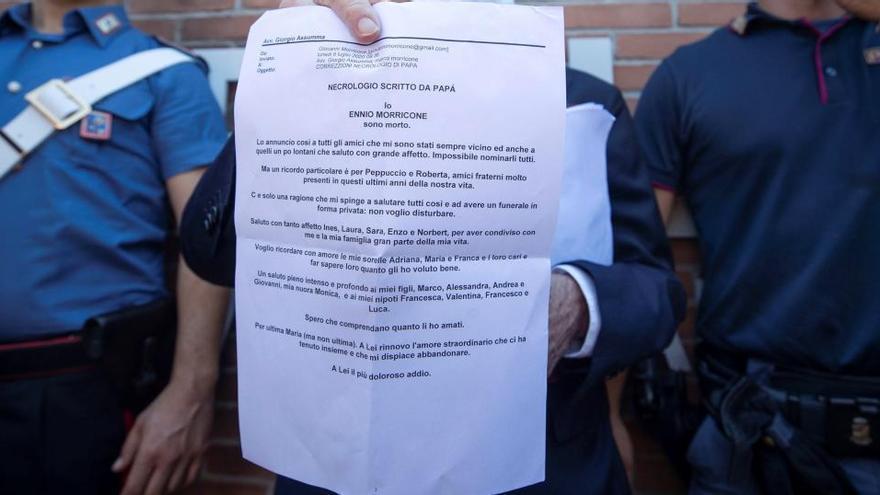 La carta de despedida de Ennio Morricone
