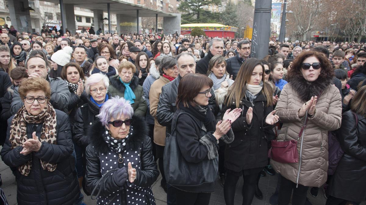 Concentración en Zamora de repulsa contra el asesinato de Laura Luelmo.