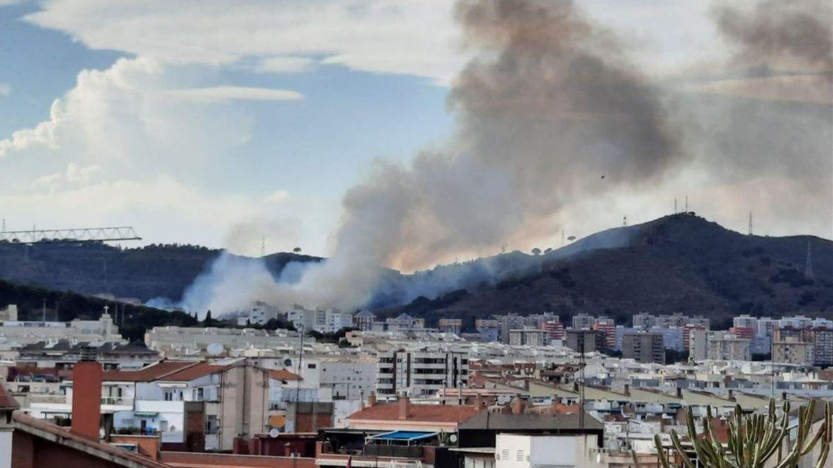 Columna de humo en las estribaciones del parque natural de Collserola.