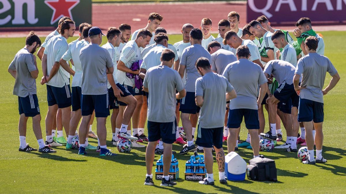 Un entrenamiento de la selección española.