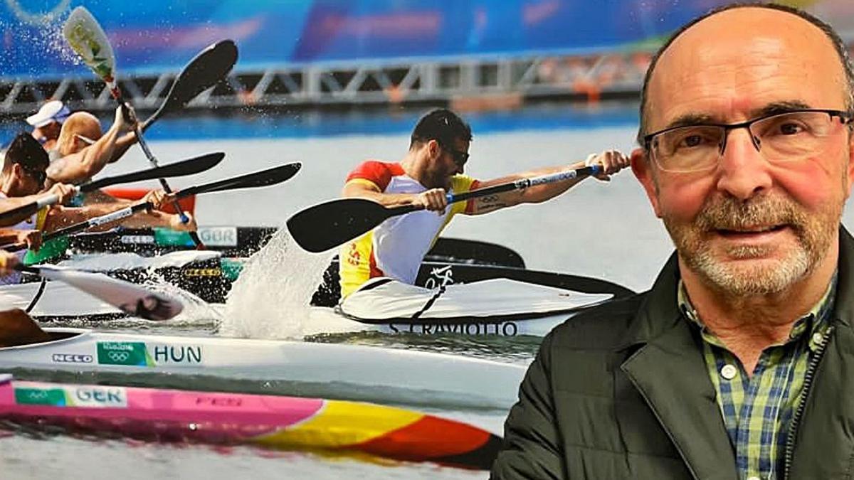 Barrios, ante la fotografía del cuádruple medallista olímpico Saúl Craviotto.