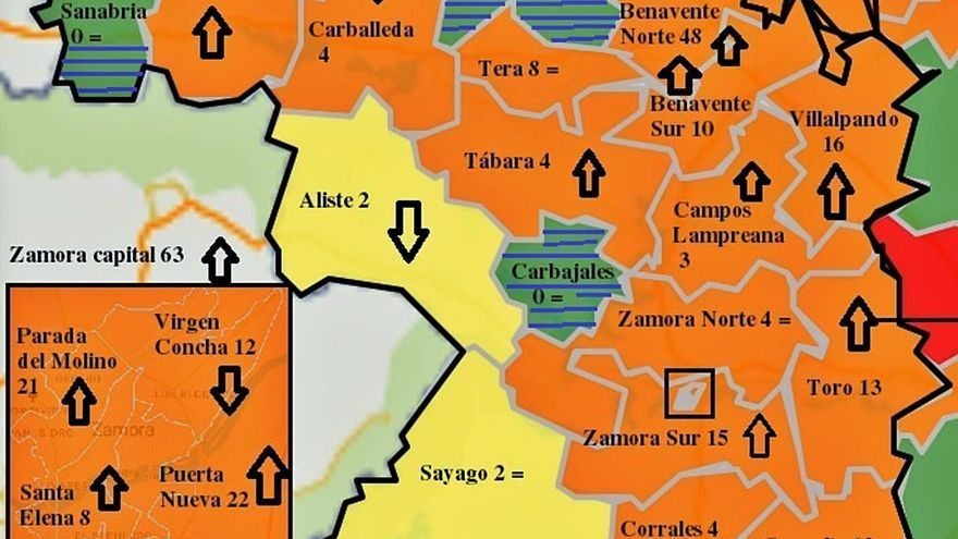 El mapa de contagios se dispara en la capital y en Benavente