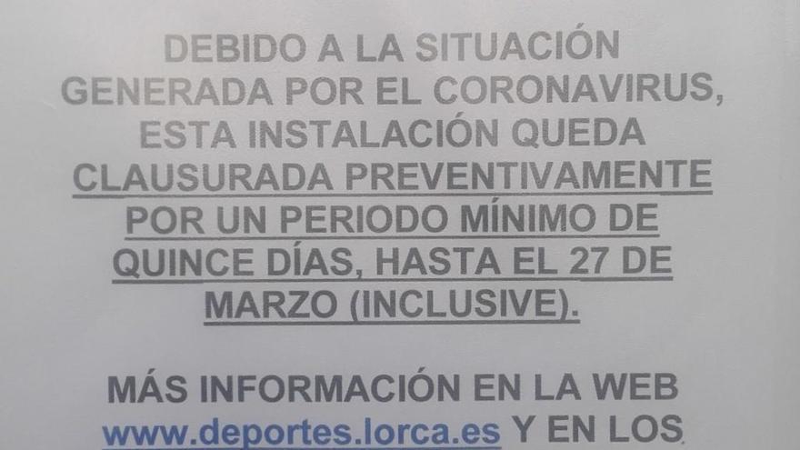 Diez mil lorquinos se quedan sin instalaciones deportivas por el coronavirus