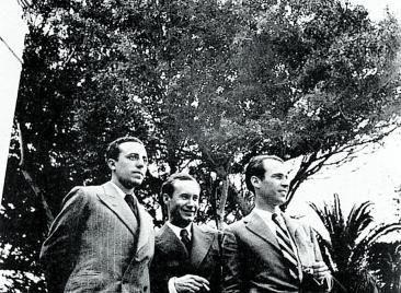López Torres, Westerdahl y Pérez Minik, de izquierda a derecha