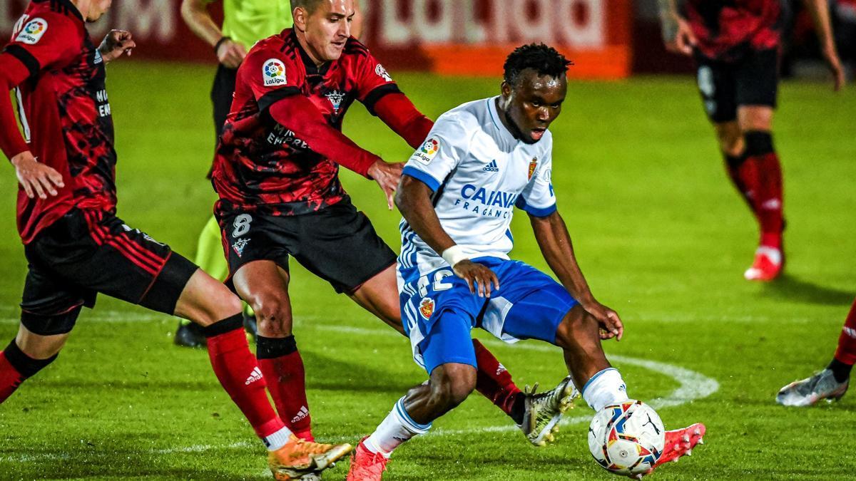 James Igbekeme, en un partido de esta última temporada ante el Mirandés.