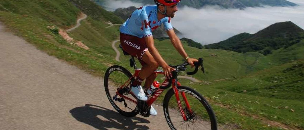 Dani Navarro, ayer entrenándose en La Cubilla.