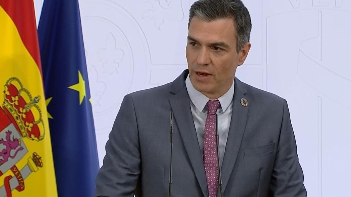 El presidente del Gobierno, Pedro Sánchez, durante la comparecencia pública en La Moncloa, a 29 de julio de 2021