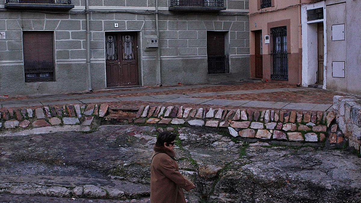 Una señora pasea por delante de unas viviendas de la ciudad de Zamora.