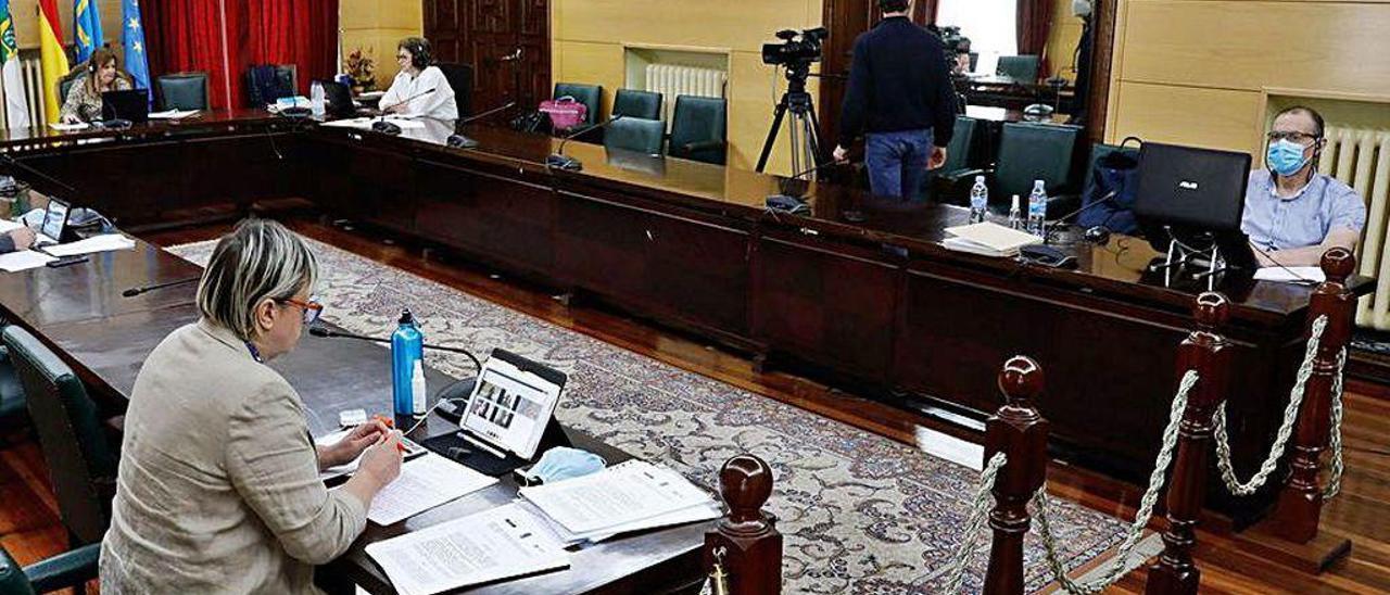 El Pleno extraordinario telemático celebrado este mes.