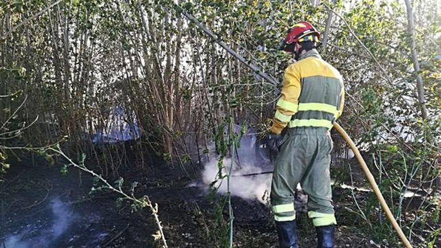 Un bombero del parque de Benavente, en un incendio de vegetación.