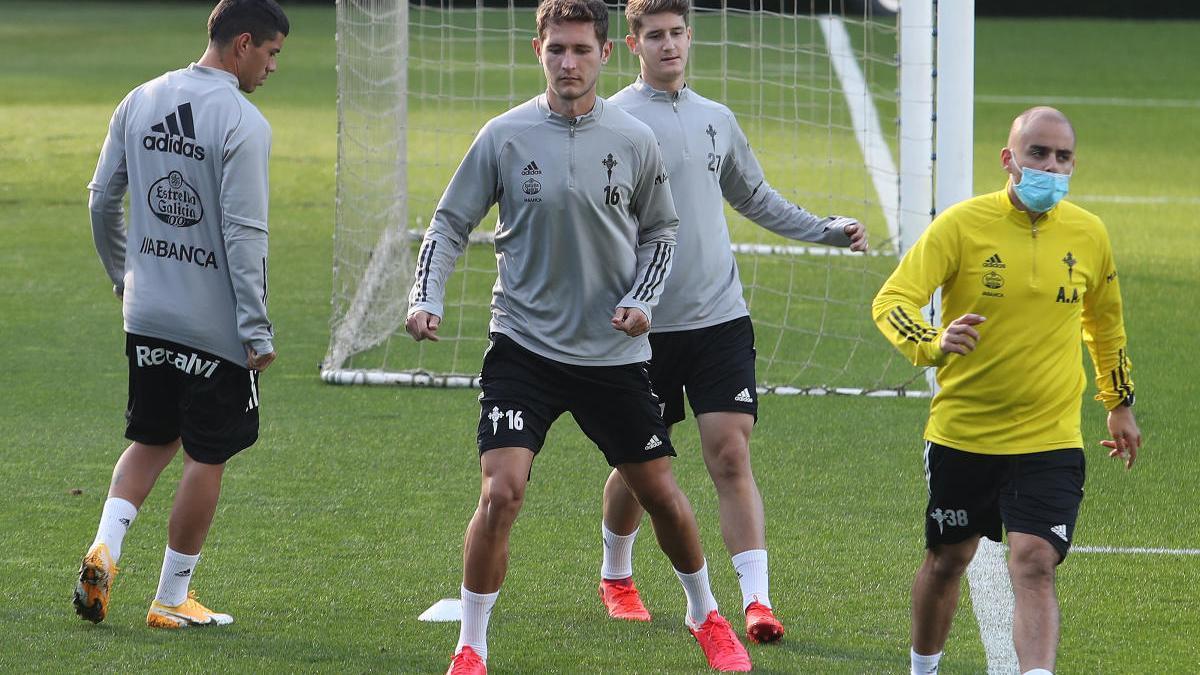 Entrenamiento del Celta este miércoles en A Madroa. // Ricardo Grobas