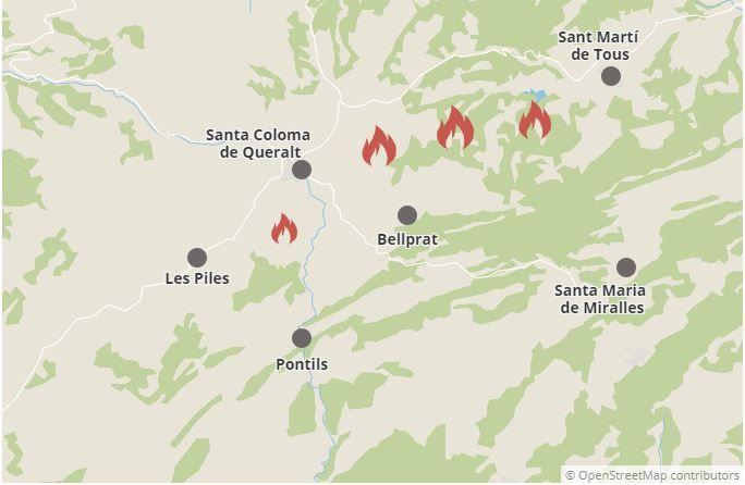 Mapa de situació de l'incendi de l'Anoia i la Conca de Barberà