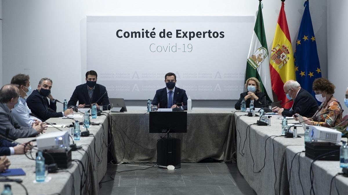 Juanma Moreno, en una reunión del comité de expertos, que hoy se ha vuelto a reunir en Sevilla.