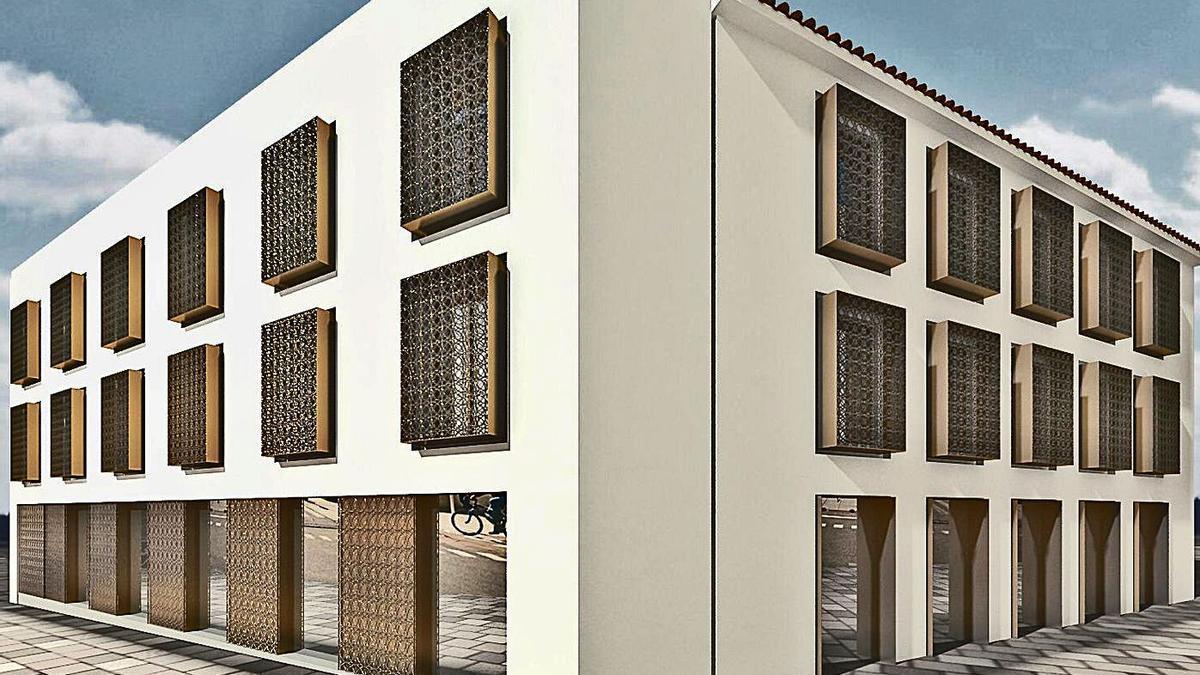 Recreación virtual del edificio previsto para la esquina de Ronda de Isasa con Cruz del Rastro.