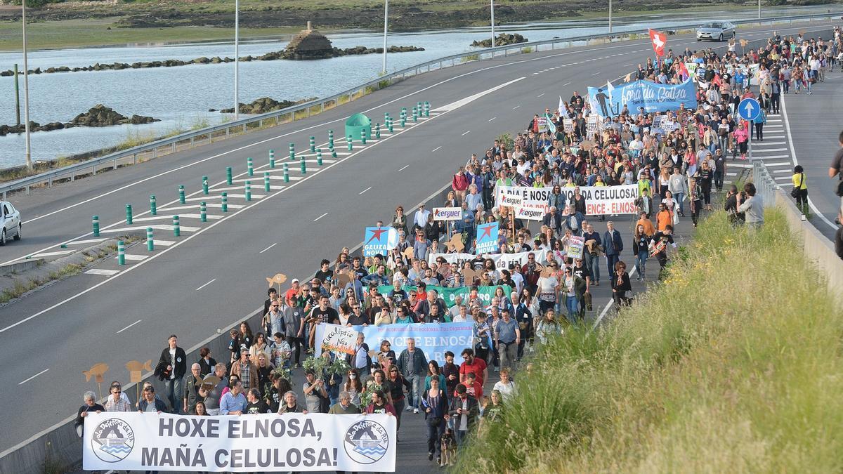 La marcha discurrirá de nuevo por la autovía de Marín. En la imagen, protesta de 2018/ Rafa Vázquez