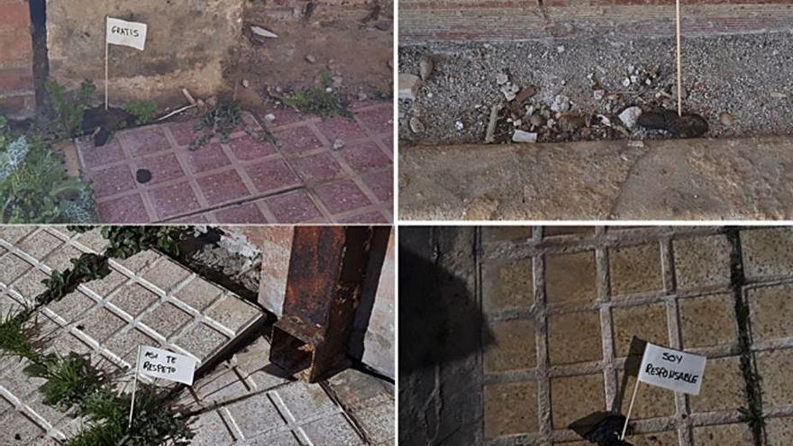 Carteles contra los dueños que no recogen las heces caninas en la zona de Luis Morán
