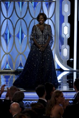 Viola Davis, presenter at the 73rd Golden Globe Awards in Beverly Hills, California