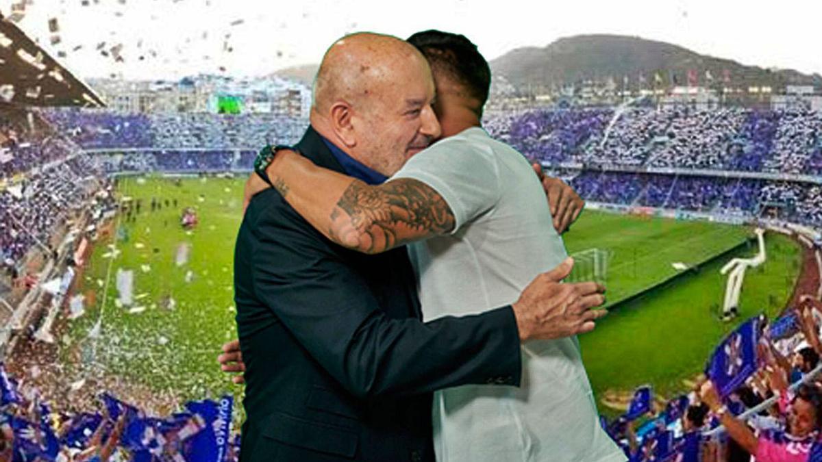 El abrazo entre el presidente y el excapitán, al final del acto de despedida. | | CD TENERIFE